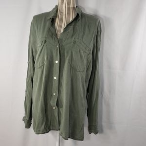 Just Living Button Down Tab Sleeve Size Large
